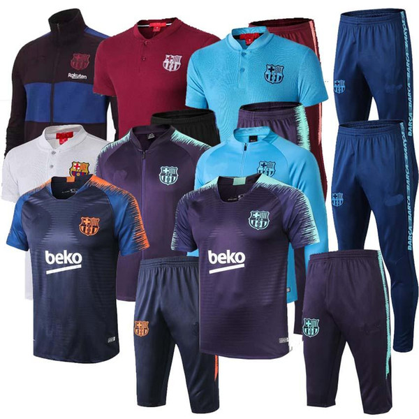 top popular Messi Suarez training suit Short sleeve 3 4 pants soccer jersey 2019 2020 sportswear Messi track suit Barcelonas sweater 2019