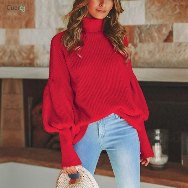 Turtleneck Red Winter Sweater Women Knit Lantern Sleeve White Sweater Female Loose Knitted Oversized Pullover Jumper