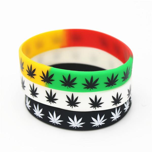 50 adet yaprak Jamaika Rasta Reggae Silikon BraceletBangles Siyah Beyaz Renk Kauçuk bileklik Moda takı hediyeler SH125