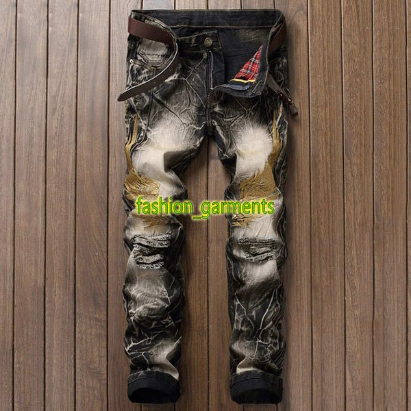2019 New Mens Explosive Jeans Mens Street Personality Embroidery Wings Hole Denim Trousers Mens Designer Retro Trousers