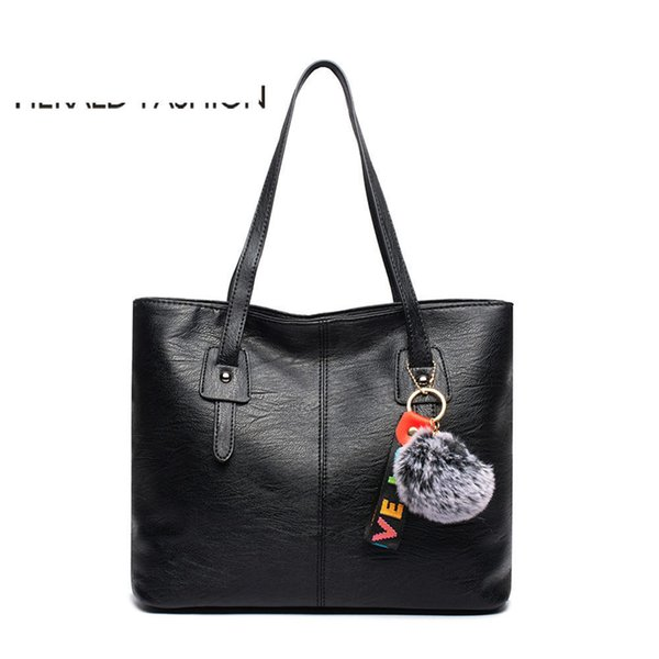 good quality Women Handbags With Hair Ball Quality Leather Female Shoulder Bags Large Casual Tote Bags Sac Bandouliere Femme