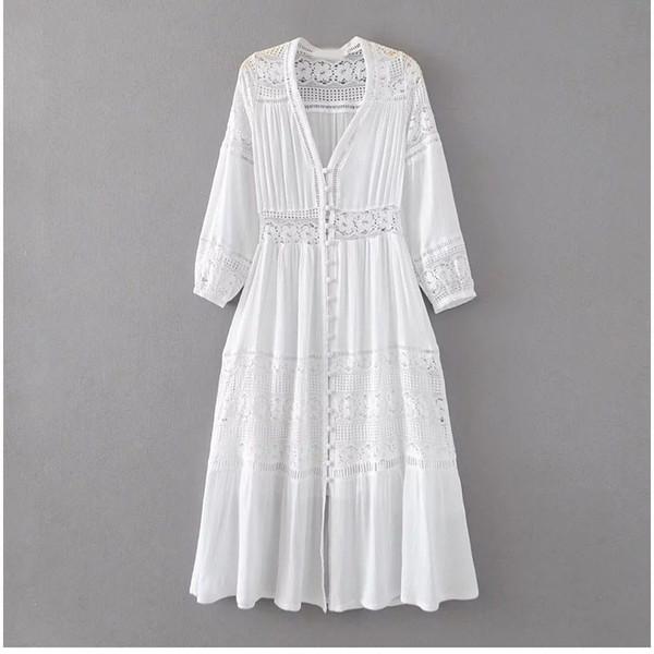 2019 mulheres verão boho maxi vestidos solto de manga comprida vestido de renda branca longo oco out beach dress