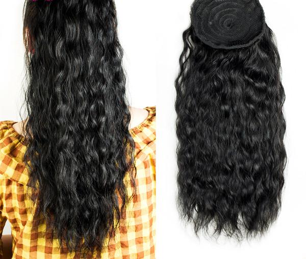 Frauen Pferdeschwanz Haarverlängerungen nass gewelltes lockiges Haar Pferdeschwanz Haarteil Kordelzug Pferdeschwanz Stücke Brötchen Peruca schwarz 1b