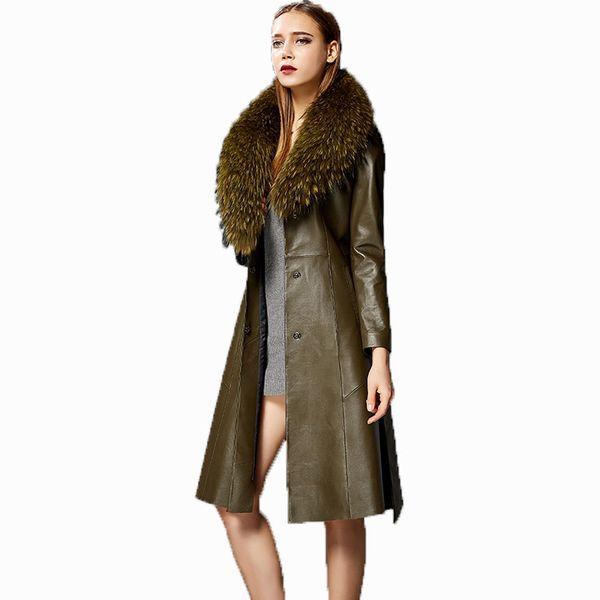 Jaqueta de couro genuíno Brasão Mulheres Roupa Windbeaker Outono Trench Mulheres Fur Collor coreano elegante ZT527 Casaco Comprido carneiro