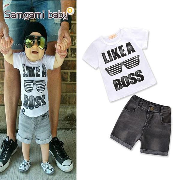 Baby boy outfits moda letra de manga corta impresa top blanco y pantalones cortos de mezclilla niños boy verano conjuntos