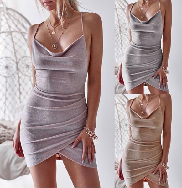2019 New Women's Dresses Summer Backless Slim Dress with Sashes for Women Sexy V-neck Club Mini Lady's Split Skirts Fashion Party Clothing