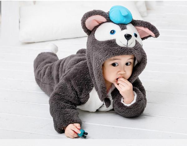Winter Kids Cute cat Onesies Pajamas Costumes Jumpsuits Baby Creeping Suit Plus Velvet Coat thick warm 0-3Y PL-002