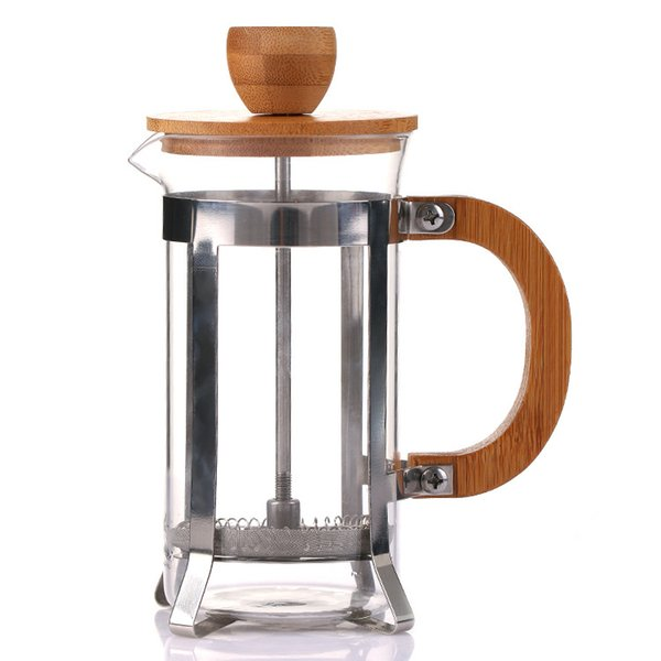 350ML French Press Stainless Steel Coffee Pot with Bamboo Lid and Handle Durable Portable Tea Glass Kettles
