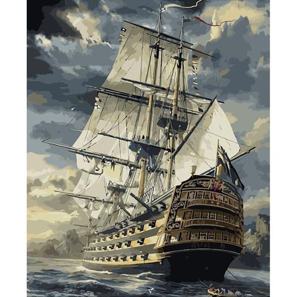 DIY Ölgemälde Durch Zahlen SailBoat 22 50 * 40 CM / 20 * 16 Zoll Auf Leinwand Für Hauptdekoration Kits [Ungerahmt]