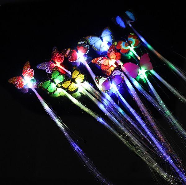 Свечение волос Braid LED Световой цветок зажим для волос Light Up Бабочка зажим для волос Bar Party украшения Поставки игрушек в тлеющем Dark YH1951