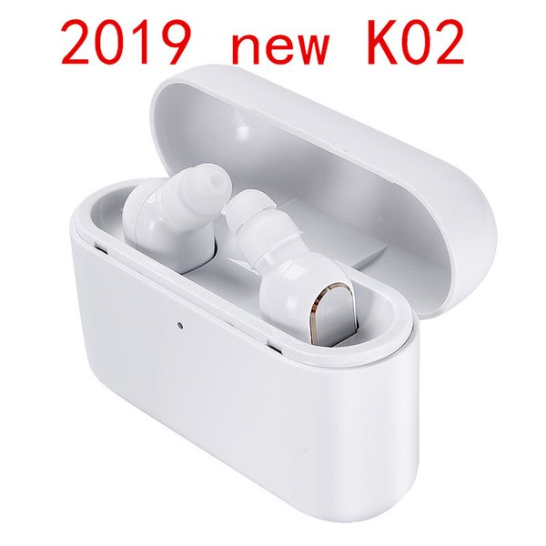 2019 Hot sale Wireless Bluetooth headphones earbuds K02 Stereo Small Single Earphone with 1200mAh charging box Invisible Earpiece Headset