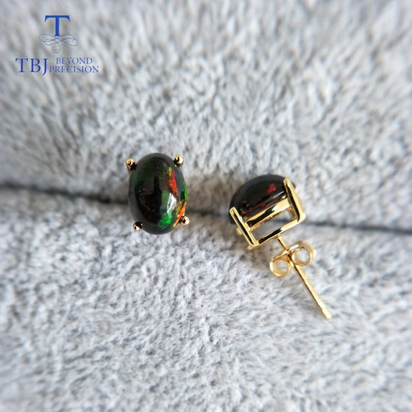 tbj,natural black opal earrings s925 silver yellow gold simple design for women daily wear gift