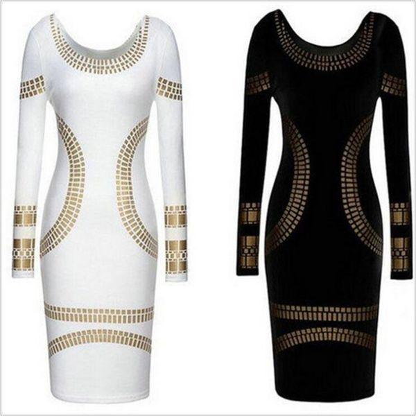 Designer Robes Femmes Sexy Noir / Blanc Imprimer Robe Slim dame robe crayon jupe Backless