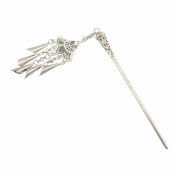Ethnic Gypsy Chinese Boho Vintage Silver Hollow Moon Tassel Hair Sticks for Women Chopsticks Hairpins Headpiece Accessories C19010501