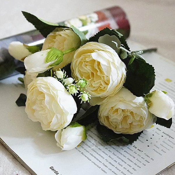 5PCS/Set Artificial Flower Restaurant Handmade Beautiful Desktop Home Wedding Decoration Gift Simulation Fake Rose Anniversary