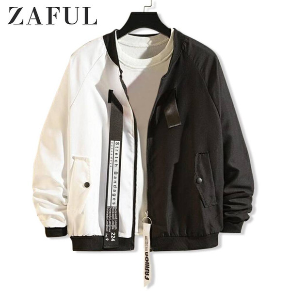 zaful letter graphic print jacket two tone panel long sleeve colorblock spliced jacketzip up stand collar autumn casual coat