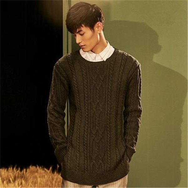 100% hand made pure wool turtleneck knit men fashion solid loose open hem pullover sweater one&over size