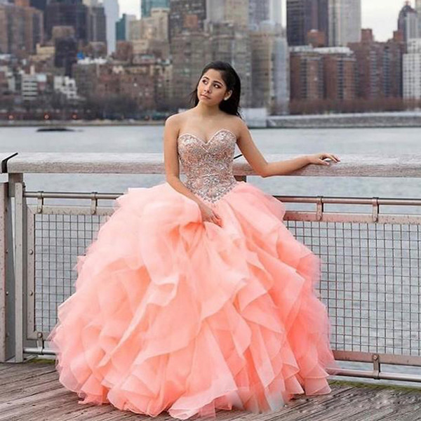 Water Melon Ball Gown Quinceanera Dresses Floral Sweetheart Beaded Lace Top Cascading Ruffle Skirt Sweet 16 Prom Gowns