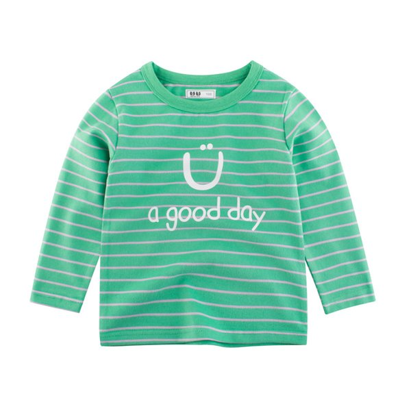 New Arrival Kids Boys Clothes Spring Casual O Neck Shirts Letters Striped Boys t shirts Long Sleeve Cotton Top Green Boys Tees Tops 3 Colors