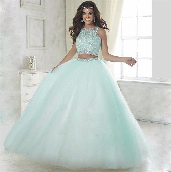 Compre Dulce Rosa 2019 Encantador 2 Piezas Vestidos De Quinceañera Con Cuentas De Cristal Formal Desfile Vestido De Bola Para Niñas Vestidos De 15