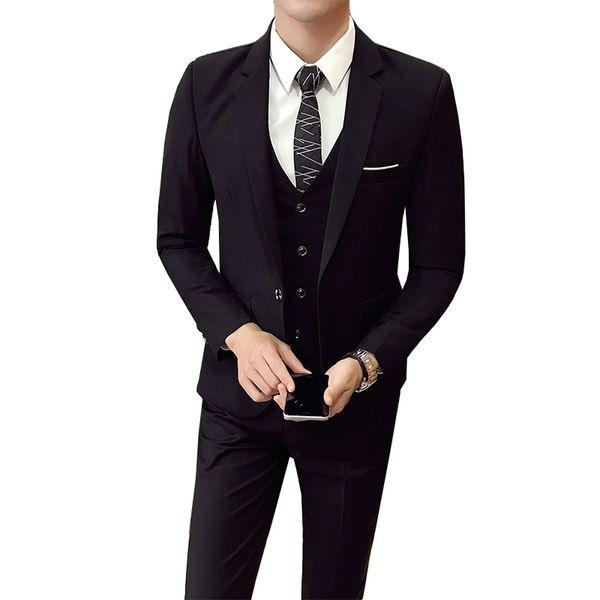 (Veste + Pantalon + gilet) Hommes Mariage Costume Homme 3 Pièces ensemble version coréenne Blazers Slim Fit Costume formel d'affaires Casual Party