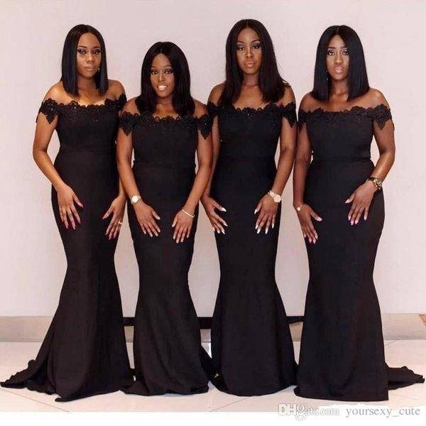 African Black Bridesmaid Dresses Off The Shoulder Plus Size Mermaid  Bridesmaid Dress Appliques Sweep Train Wedding Guest Gowns Cheap Grey  Bridesmaid ...
