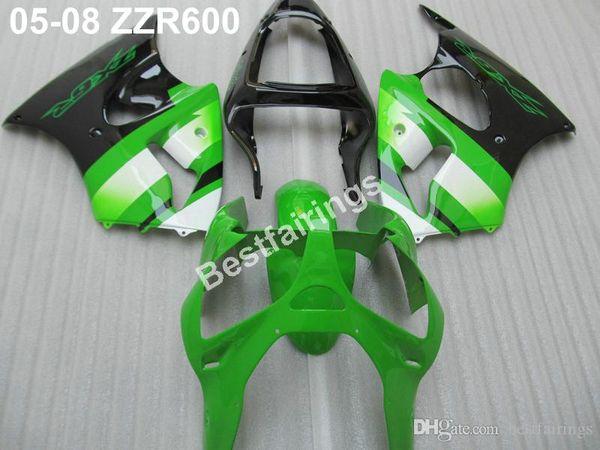 Motorcycle plastic fairings for Kawasaki ZZR600 05 06 07 08 green black injection molded fairing kit ZZR 600 2005-2008 ZV45