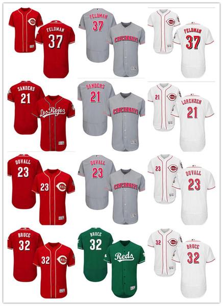 benutzerdefinierte Männer Frauen Jugend Reds Jersey # 37 Scott Feldman 32 Jay Bruce 23 Adam Duvall 21 Michael Lorenzen Baseball-Trikots