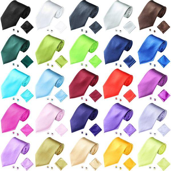 Neck Tie Cuff Links Handkerchief Set 19 Colors 145*10cm solid color NeckTie Men's necktie for Father's Day Sports Souvenirs business tie gif