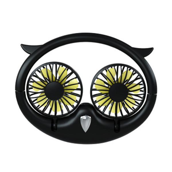 best selling 2020 new owl hanging neck fan desktop usb portable folding telescopic fan lazy hanging neck fan