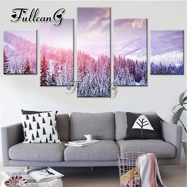 """wholesale diy 3d mosaic full embroidery """"snow scene"""" diamond painting 5 panel pictures of rhinestone hobbies and crafts G1208"""