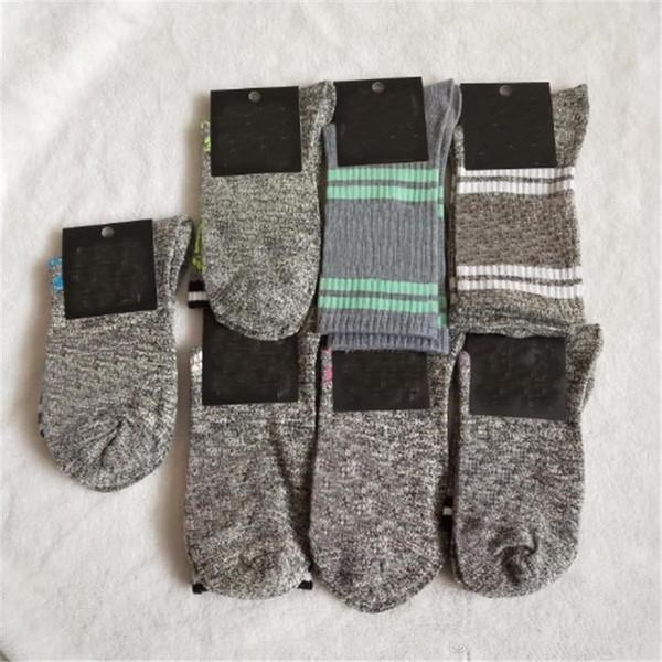 best selling Pink Grey Stockings Knee High Socks With Tags Fashion Socks Sports Football Media Corta Knee-High Socks Cotton Multi color