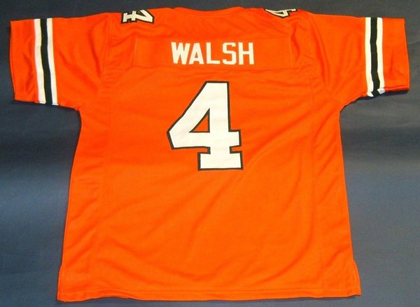 Cheap retro STEVE WALSH CUSTOM UNIVERSITY OF HURRICANES JERSEY orange Mens Stitching College Size S-5XL Football jerseys NCAA