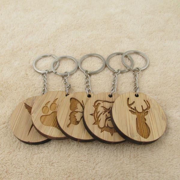 Moda caliente moda animal llavero pata de perro mariposa pájaro ciervo cabeza llavero de madera llavero cadena