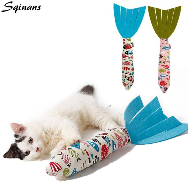 Sqinans 1pc Pet Catnip Toy Fish Shape Cat Interactive Chewing Toys With Noise Paper For Puppy Kitten