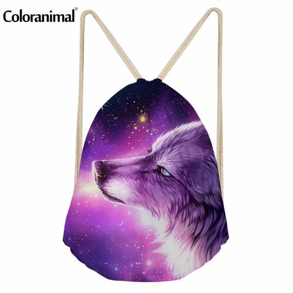 Coloranimal Drawstring Bag for Youth Girl Boy 3D Cool Animal Purple Wolf Print Women Men Children Mini Backpack String Beach Bag