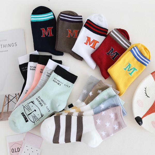 Mulheres designer meias meias versão coreana do colégio vento algodão sockes japonês outono e inverno bonito dos desenhos animados tubo longo meias femininas