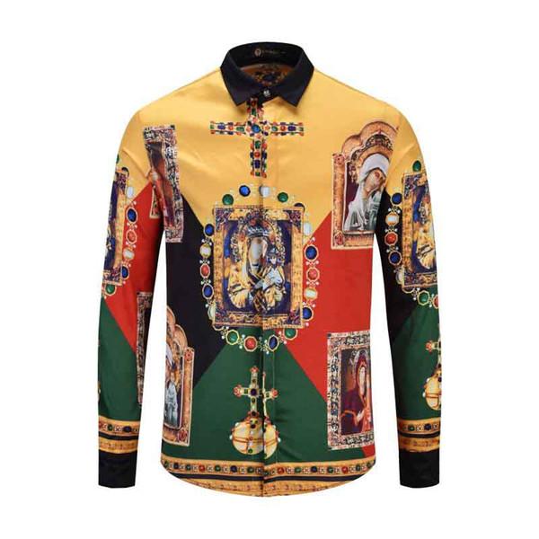 Compre Luxo Homens Italianos Shirt Slim Fit Moda Animal Impresso Mens Camisas De Vestido Camisa Social Masculina Longa Da Luva Vestuário De Cmq1838