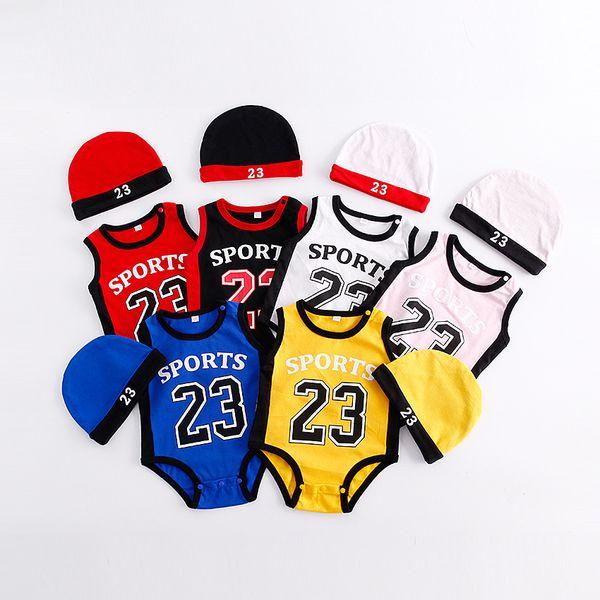 Bebê Infantil Menino Designer Roupas Romper Menino Menina de Basquete 23 imprimir Romper Manga Curta com Chapéu bebê Escalada roupas de verão 100% algodão