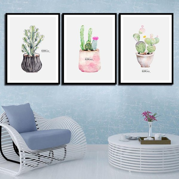 Wall Art Print Nordic Posters Pictures Cactus Plant Pot Modern Quotes Canvas HD Paintings For Office Living Room Home Decor