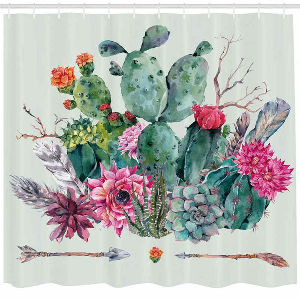 Cactus Decor Shower Curtain, Spring Garden with Boho Style Bouquet of Thorny Plants Blooms Arrows Feathers