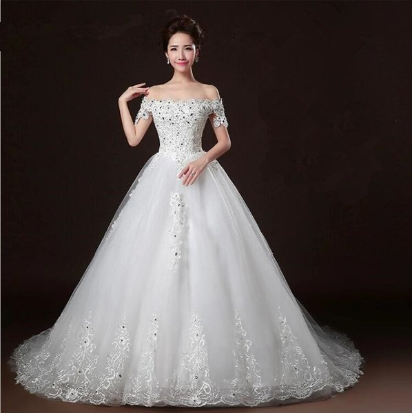 Vintage Beaded Wedding Dresses Cheap Off the Shoulder Chapel Train with Tulle Long Tail Bridal Gowns Lace Up Amelia Sposa