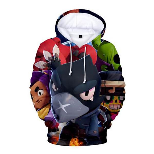 2019 Children Fashion 3D Printed Brawl Stars Fleece Hoodie Sweatshirt Boys Girls Cool Long Sleeve Pullover Hoodies Winter Outwear