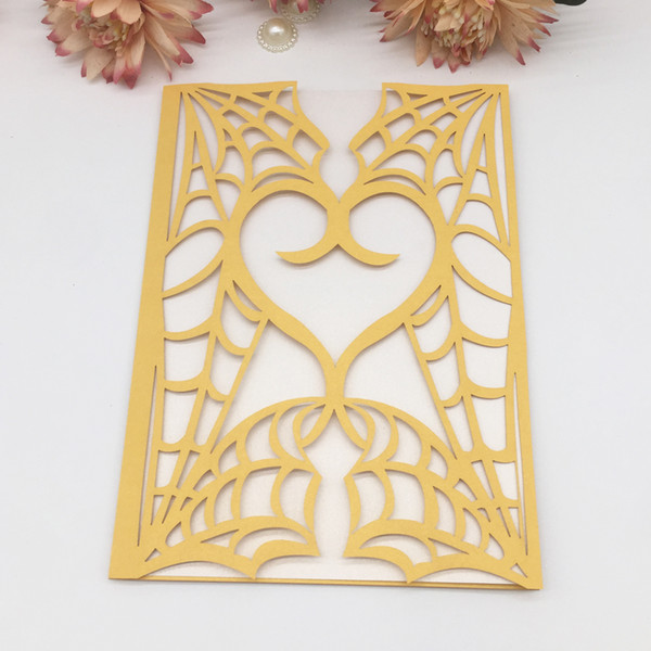 Cuore di amore di lusso Ragnatela scava fuori carta tagliata laser perla Busta invito a nozze festa di compleanno fornitore business cena cena