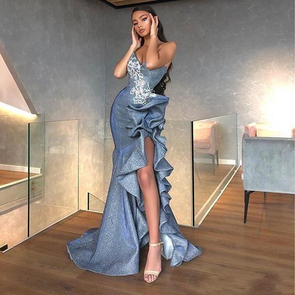 Sexy High Side Split Русалка Пром платье с кружевом Аппликации Милых Блесток оборки Вечернего платье Платье-де-фест Формальной партии платье