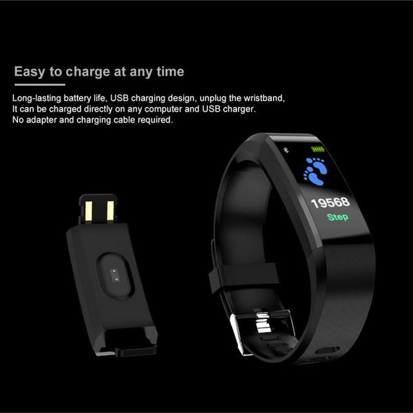 kebidu Bluetooth ID115 imperméable, plus Bracelet Wristband de fréquence cardiaque Tracker LCD à distance Wristband Podomètre