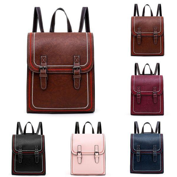 25#Sewing school bag bagpack solid wild leather Ladies Girls Fashion Retro Handbag Totes Shoulder Backpacks Bag mochila mujer