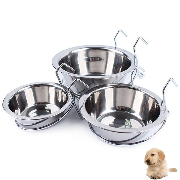 Stainless Steel Dog Cat Pet Bowl Feeding Tool Hanging Feeder Drinking Water Drinker Bowls Dish For Pets Accessory Supplies