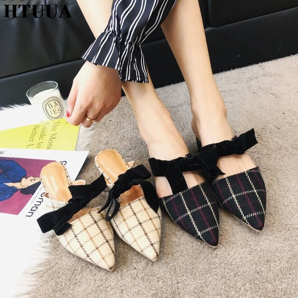 HTUUA 2019 New Spring Women Mules Shoes Bow Lace-Up Slippers Sexy Pointed Toe High Heels Sandals Ladies Slides Flip Flops SX2031