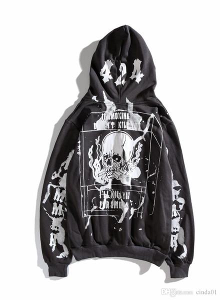 424 Skull graffiti Stampato Mens Casual Felpe con cappuccio maschile Designer Felpe Hip Hop High Street Pullover